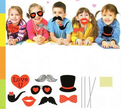 Accessori Photo Booth Bimbi Set Cuori Photo Booth e Accessori