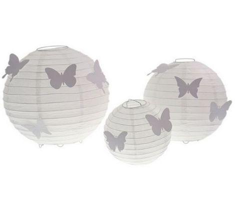 Lanterne bianche con farfalle conf 5pz shop per for Lanterne bianche