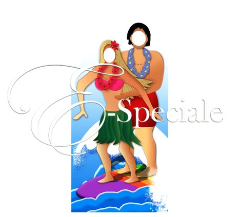sagoma surf coppia hawaiana Photo Booth e Accessori